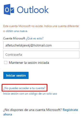 No puedo iniciar sesión en Hotmail b