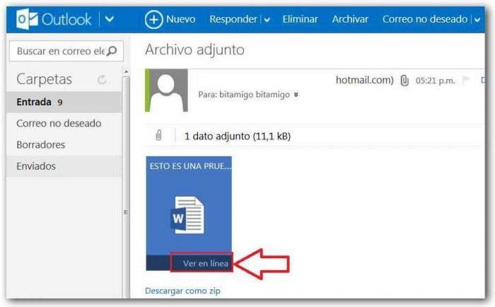 archivos adjuntos en Hotmail