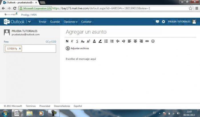 Cómo redactar un mensaje de correo electrónico en Hotmail