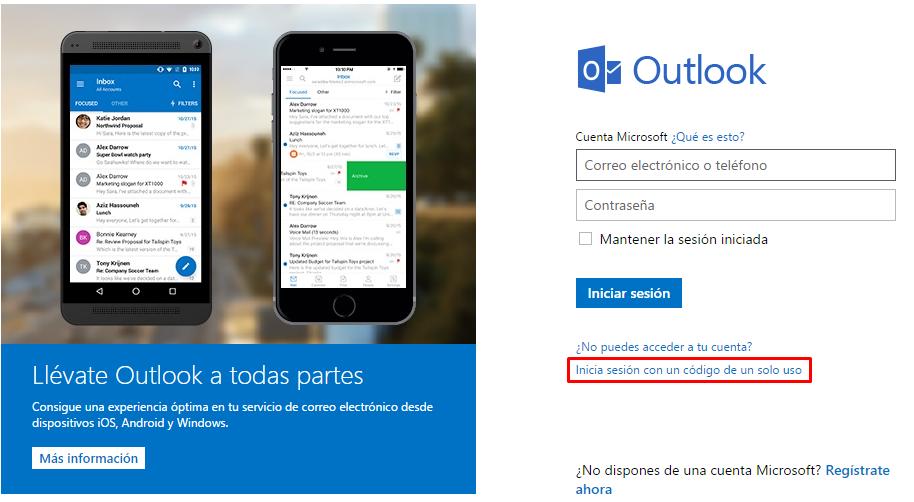 Cómo iniciar sesión en Hotmail con un código de un solo uso