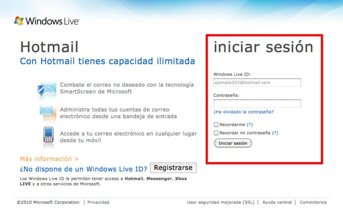Sesion hotmail
