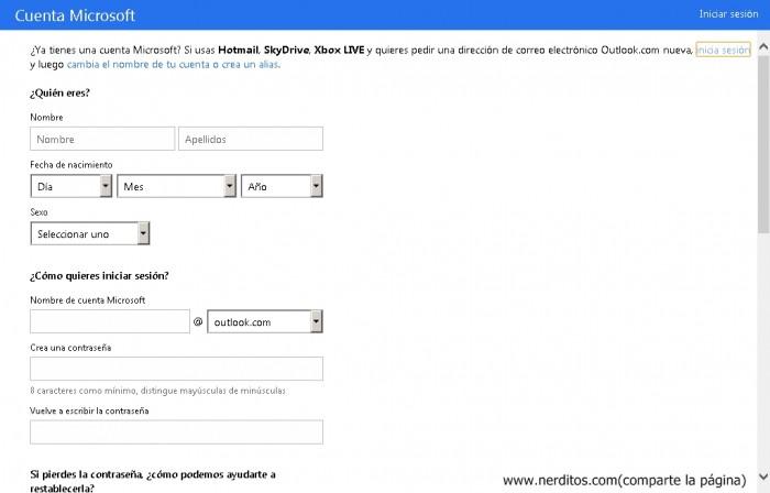 Crear una cuenta de Hotmail gratis